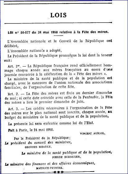 Loi n°50-577 du 24 Mai 1950 relative à la Fête des Mères.