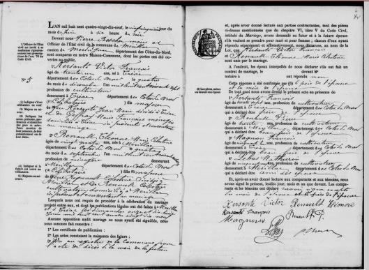 Acte de mariage KERSANTE x RENAULT - Archives départementales des Côtés d'Armor